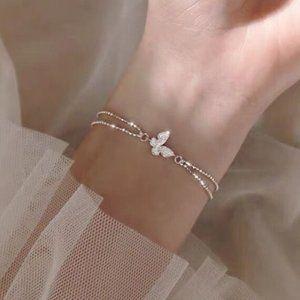 *925 Sterling Silver Diamond Butterfly Bracelet